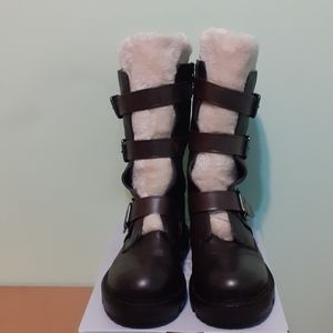 POWERFUL & UNIQUE 💯%LEATHER+Soft Lined Fur trim Chocolate Brown MotoBoot 9 GOTH